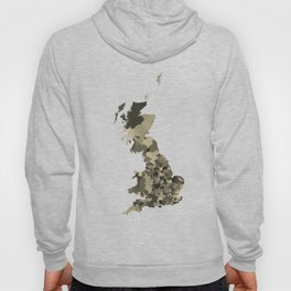 Great Britain Map Print Abstract in Camouflage Desert - A great talking piece for the home! Hoody