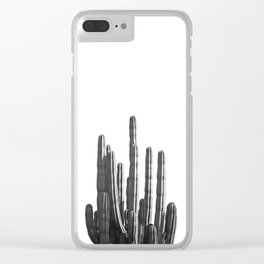 Black and White Cactus Clear iPhone Case