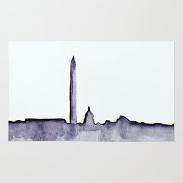Black and White Watercolor DC Skyline Rug