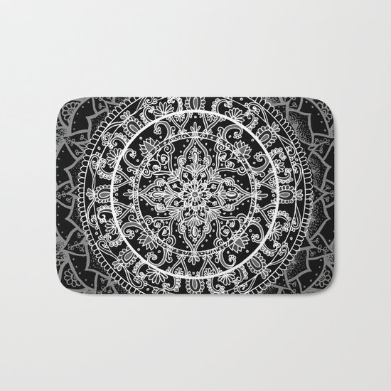 Detailed Black and White Mandala Pattern Bath Mat