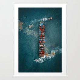 Aerial shot of cargo ship under road bridge Art Print