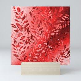 Monochrome  Leaf Arrangement (Red) Mini Art Print