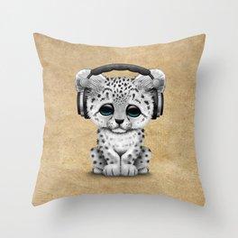 Cute Snow leopard Cub Dj Wearing Headphones Throw Pillow