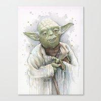 yoda Canvas Prints featuring Yoda  by Olechka