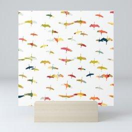 Sand Hill Cranes in multicolor - flock of birds Mini Art Print