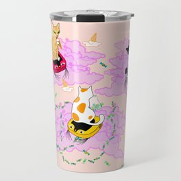 Cats on robot vacuum cleaners in pink clouds Travel Mug