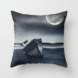 Moonlit Wreck - Stranded Ship Wreck on a Beach at Night Throw Pillow