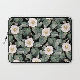 White Camellia Flowers On Black Laptop Sleeve
