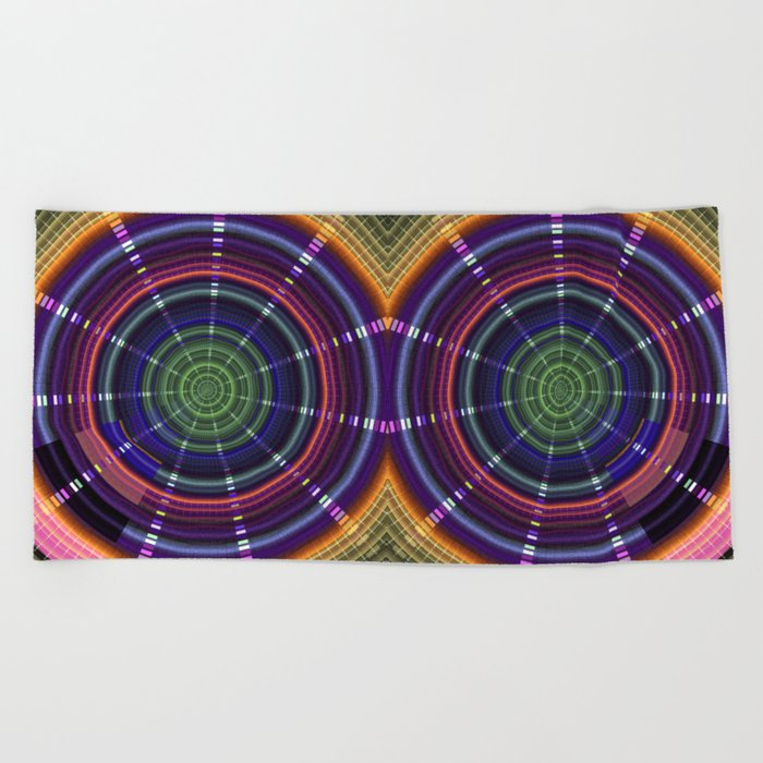 Dynamic mandala with tribal patetrns Beach Towel