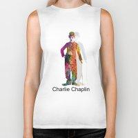 charlie chaplin Biker Tanks featuring charlie chaplin by mark ashkenazi