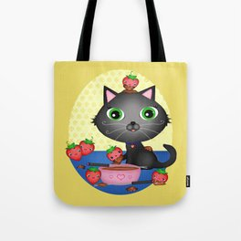 Kitty Cat With Fondue Chocolate Covered Strawberries Tote Bag