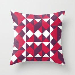 Purple & Pink Retro Shapes Throw Pillow