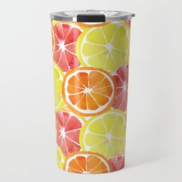 Grapefruit Lemon Orange Pattern Travel Mug