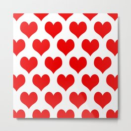 Holidaze Love Hearts Red Metal Print