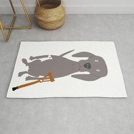 Wounded Weim Grey Ghost Weimaraner Dog Hand-painted Pet Drawing Rug
