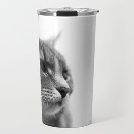 Always a Cat- Black and white photo of a cat Travel Mug