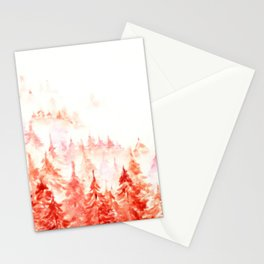 Pines Forest-abstract watercolor Stationery Cards