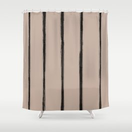 Skinny Strokes Gapped Vertical Black on Nude Shower Curtain