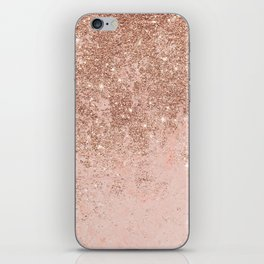Girly blush coral faux rose gold glitter marble iPhone Skin