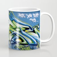 sticker Mugs featuring Sticker wall by squadcore