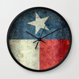 Texas flag, Grungy Vertical Banner Wall Clock