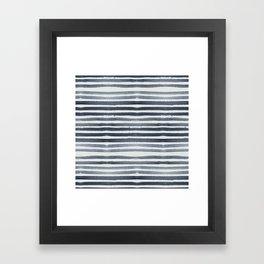 Simply Shibori Stripes Indigo Blue on Lunar Gray Framed Art Print