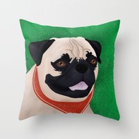 pug Throw Pillows featuring Pug by Nir P