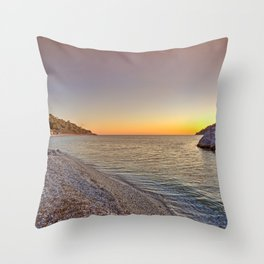 The sunset at the beach Milia of Skopelos island, Greece Throw Pillow