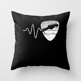 guitar player guitar plectrum heartbeat music Throw Pillow