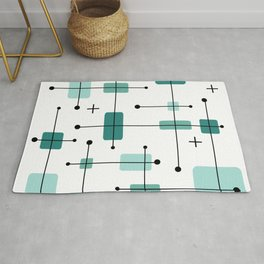 Rounded Rectangles Squares Teal 2 Rug
