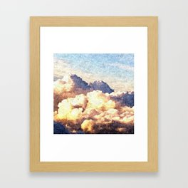 Fluffy Clouds Aerial Skyscape Painting Framed Art Print