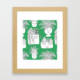 Illustrated Plant Faces in Kelly Green Framed Art Print