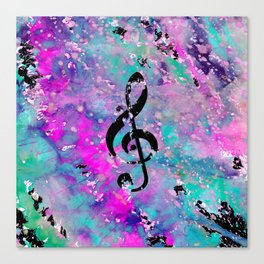 Artistic neon pink teal black watercolor classical music note Canvas Print