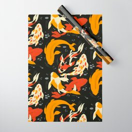Koi in Black Water Wrapping Paper