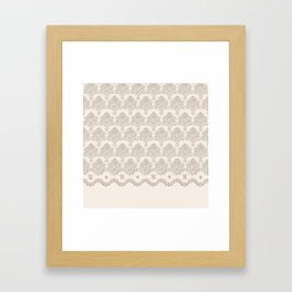 """Damask """"Cafe au Lait"""" Chenille with Lacy Edge Framed Art Print"""