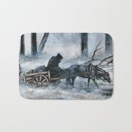 Grim Reaper with Horse in the Woods Bath Mat