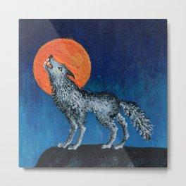 Harvest Moon Wolf Metal Print