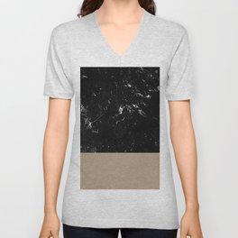 Sepia Meets Black Marble #1 #decor #art #society6 Unisex V-Neck