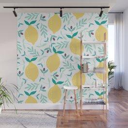 Lemon & Blueberry Pastel Wall Mural