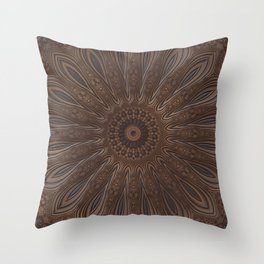 Faux Leather Floral Design Throw Pillow