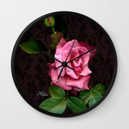 Pink Rose on Black Lace, Scanography Wall Clock