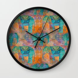 Elephant Pattern allover orange turquoise Wall Clock