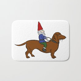 Gnome Riding a Dachshund Bath Mat