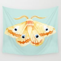 moth Wall Tapestries featuring moth by terastar