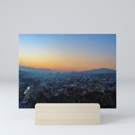 Colorful sky and sunset over Sarajevo Mini Art Print