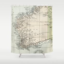 Vintage Map of the West Of Australia Shower Curtain