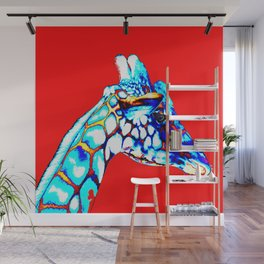 Colorful Giraffe Red (Right facing) Wall Mural