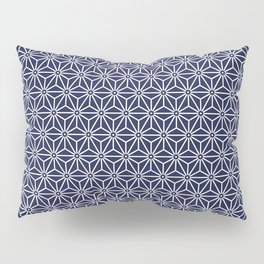 Japanese Yukata Jinbei Asanoha Navy blue Pillow Sham