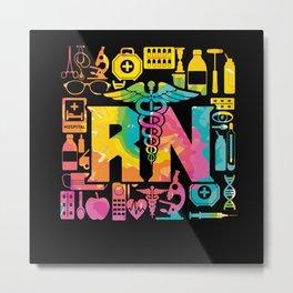 Lovely RN Registered Nurse Multi Color Metal Print