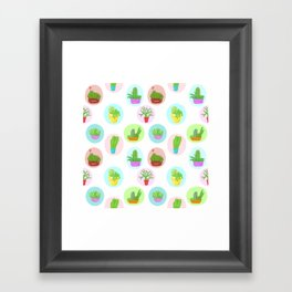 A Collection of Potted Cacti and Succulents With Borders Framed Art Print